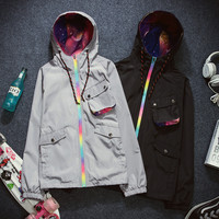 Fashion Unisex Black Grey Rainbow Zipper Windbreaker Jacket [9445745735]