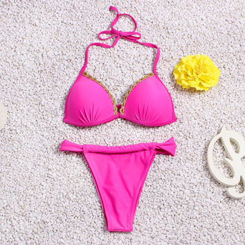 Pink Swimwear Bathing Suit Vintage Bikini
