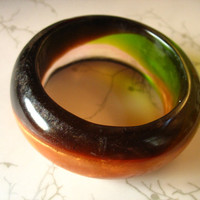 Chunky resin bangle bracelet jewelry  in lime green, shimmery chocolate, peach and bronze