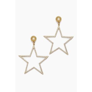 Shining Star Rhinstone Earrings - Gold