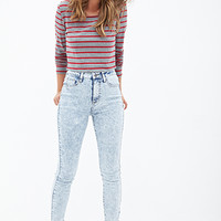 FOREVER 21 Mineral Wash Skinny Jeans Denim Washed