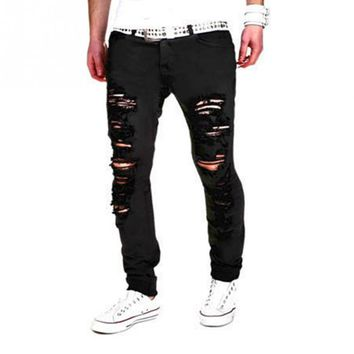 Skinny Ripped Jeans For Men Male Black Motorcycle Jeans Denim Pants Fashion Brand Swag Hole Biker Jeans