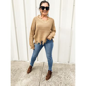 Knit Me Up Sweater in Camel