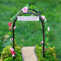 Fairy Garden Arbor miniature accessories with with rose garland and handcrafted sign