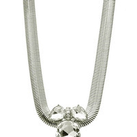 NECKLACE / FACETED HOMAICA STONE / SNAKE CHAIN / PEAR CUT / PAVE CRYSTAL STONE / 16 INCH LONG / 1 1/2 INCH DROP / NICKEL AND LEAD COMPLIANT