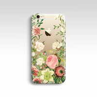 iPhone 6 Case, Floral iPhone 6s Case, Clear Rubber iPhone 5s Case, iPhone 5 Case, Transparent iPhone 6 Case, Vintage iPhone 6 Christmas Gift