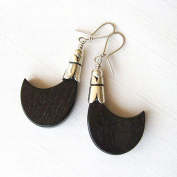 Sterling Silver and Ebony Wood Tribal Earrings - Black and Silver - Black Petal Nature Shape - Contemporary Jewelry - Ethnic Tribal Jewelry