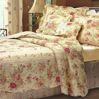 Chic Shabby Romantic Rose Bedding Quilt Set Queen