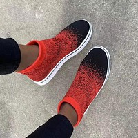 Fashion hot sale flying woven soft sole running large size women's shoes sneakers
