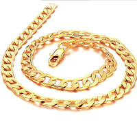 7MM 18K Gold Necklace 20/24 Inches Chain Necklace Unisex