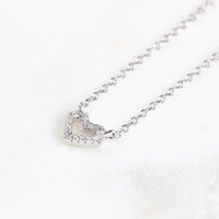 CZ Heart Necklace, Sterling Silver Heart Necklace, Tiny Heart Necklace, Cubic zirconia Heart Necklace, Bridesmaids Gifts, Wedding Jewelry