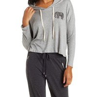 Heather Gray Pullover Drawstring Hoodie by Charlotte Russe