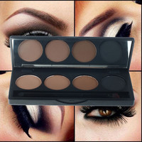 Hot sale professional eyeshadow eye brow makeup waterproof 4 color eyebrow powder + double end brush make up palette set