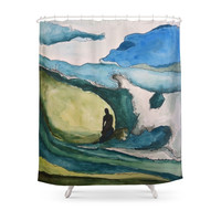 Society6 Watercolor Surfer Shower Curtain