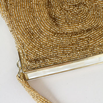 Vintage 50s Purse / 1950s Gold Swirl Heavily Beaded Handbag with Mother of Pearl Closure