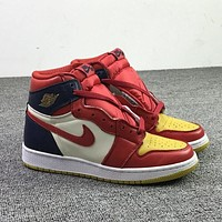 Air Jordan 1 AF1 men's and women's high-top color-matching sneakers basketball shoes