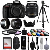 "Nikon D5300 Digital DSLR Camera + 18-55mm VR II + Wide Angle with Fisheye & Macro Effects + 30 PC Accessory Bundle + 60"" Tripod + 32GB + Remote + UV Filter + Telephoto Lens + Cleaning Kit + More - Walmart.com"