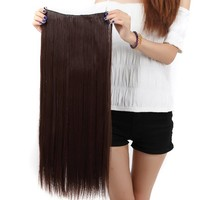 Us.store 23'' Long New Straight Clip in on Hair Extensions 3/4 Full Head One Piece Hair 5 Clips (light brown)