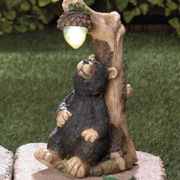 Adorable Black Bear Solar Statue