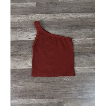 Vintage Wash One Shoulder Crop Top in Brick