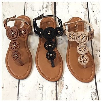 INSANITY CLOSEOUT! Leather Concho Sandals