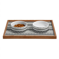 Allyson Johnson Black And White Aztec Pattern Pet Bowl and Tray
