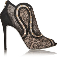 René Caovilla - Embellished lace and mesh peep-toe ankle boots