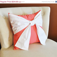 MOTHERS DAY SALE Throw Pillow, White Bow on Coral Pillow 14x14 Coral Home Decor, Decorative Throw Pillows
