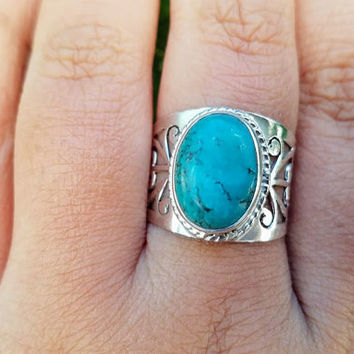 Turquoise Ring - Handmade Turquoise Jewelry - December Birthstone Ring - Silver Filigree Ring - Tibetan Tribal Ring