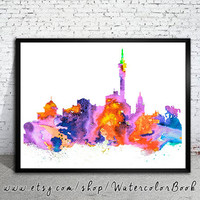Cape Town City Skyline, Art Print, Cape Town poster, Cape Town art, Cape Town watercolor, watercolor poster, map poster, City watercolor,