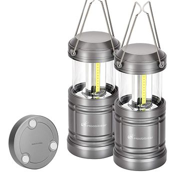 Moobibear 500lm LED Camping Lantern Lights Collapsible - COB LED Storm & Power Outage Lantern Battery Powered with Magnetic Base for Night, Fishing, Hiking, Emergencies, 2 Pack