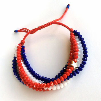 Beaded Bracelet, Statement Bracelet, Red Blue White Bracelet, Macrame Bracelet, Adjustable Bracelet, Birthday Gift, Gold Star Bracelet,