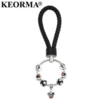 KEORMA 1Pcs Fashion Multicolor PU Leather Keychain Animal Mickey Mouse Key Ring Handmade jewelry Key Chain For Women Girl YK024