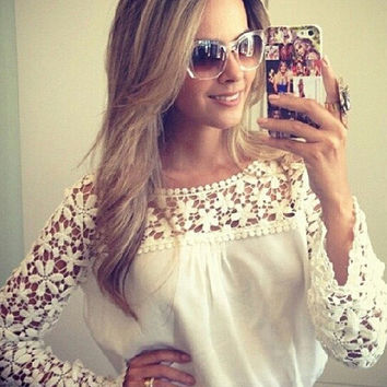 White Floral Lace Chiffon Long Sleeve Top
