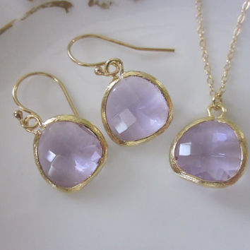 Lavender Purple Necklace & Earring Set - Gold Filled Chain and Earwires - Bridesmaid Jewelry - Wedding Jewelry - Valentines Day Gift