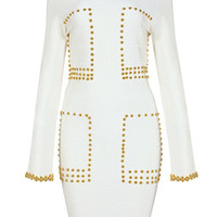 Mya Long Sleeve Studded White Bandage Dress