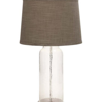 Tall Glass Table Lamp with Dark Burlap Shade