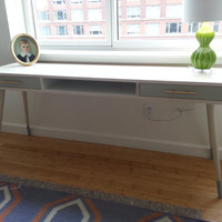 Mid Century Inspired Desk in Ash. Two Tone with  Brass Accents. Light Colored Wood.