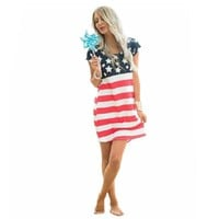American Flag Women's Summer Dress Short Sleeve