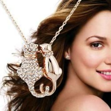 High-end European and American style jewelry the cute couple cat necklace pendants material KC Gold Rhinestone