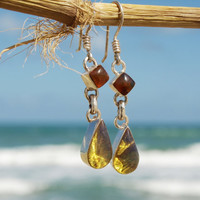 Dominican Blue Amber Dangle Earrings Sterling Silver Teardrop Diamond Caribbean Dream Green Purple stone 925 OOAK