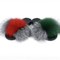Silver fox fur slides green fur slides red fur slippers womens fur slipons