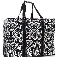 Large Damask Print Framed Utility Storage Tote