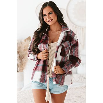 River Oversized Plaid Flannel Jacket (Red/White)