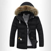 Jaqueta Masculina Men's Winter Casual Warm Large Fur Hooded Windproof Zipper Coat-Black