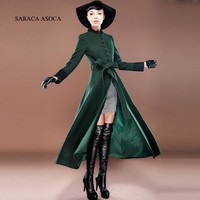 Plus Size New Fall And Winter Clothes Woman Long Design Woolen Coat Female Fashion Slim Thin Long Blends Overcoat