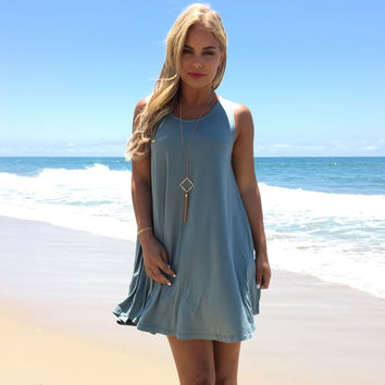 Stop The World Jersey Dress In Blue