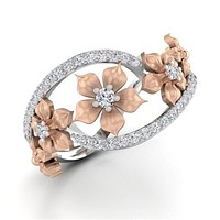 Women Multi Flower Wedding RIng 36789