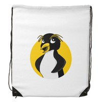 Rockhopper penguin cartoon drawstring backpacks