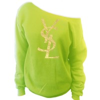 YSL Yves Saint Laurent Inspired Off-The-Shoulder Oversized Slouchy Sweatshirt